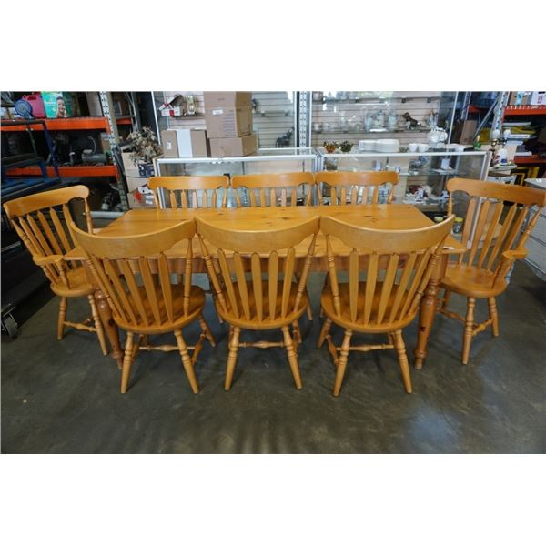 PINE DINING TABLE WITH 8 CHAIRS