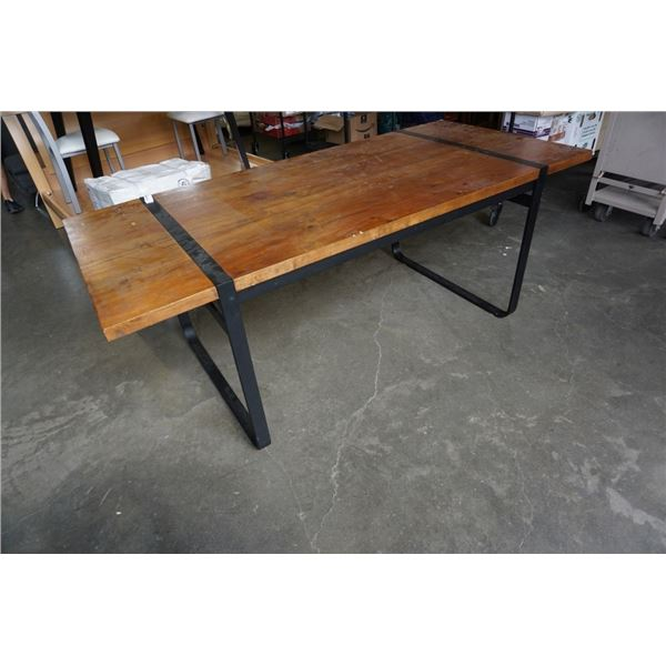 LH IMPORTS RECLAIMED WOOD TOP TABLE WITH BLACK POWDER COATED LEGS