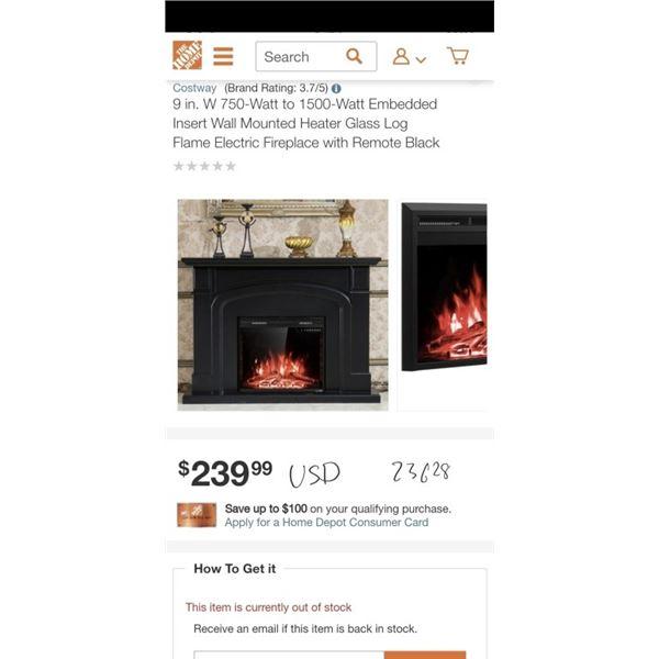 9 in. W 750-Watt to 1500-Watt Embedded Insert Wall Mounted Heater Glass Log Flame Electric Fireplace
