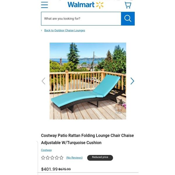 AS NEW COSTWAY PATIO RATTAN FOLDING LOUNGE CHAIR ADJUSTABLE WITH TURQUOISE CUSHION - RETAIL $401.99