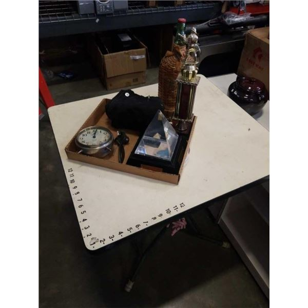 BOX OF COLLECTIBLE INCLUDING EARLY 1900 RUM BOTTLE, WESTCLOX CLOCK VERSACE PANTS AND MORE