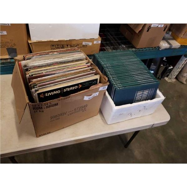 BOX OF RECORDS AND BOX OF WORLD WAR 2 BOOKS