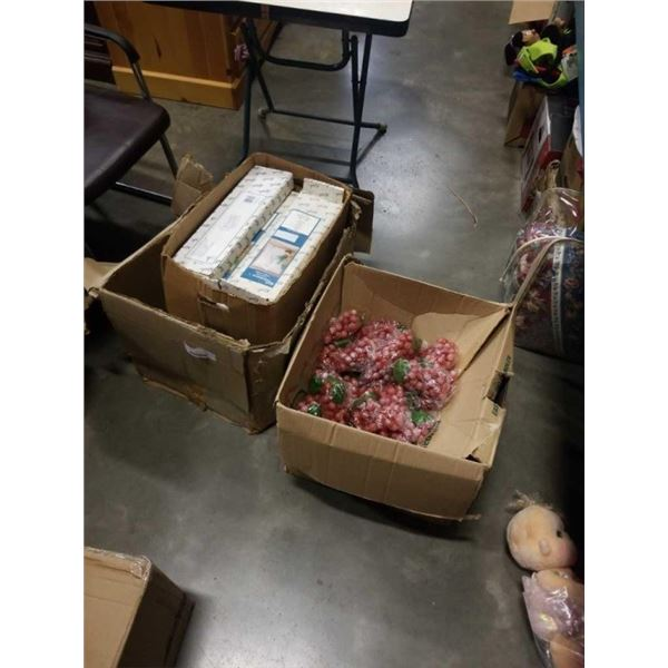 3 BOXES OF CURTAIN RODS, SHOWER CURTAINS AND GRAPE DECORATIONS