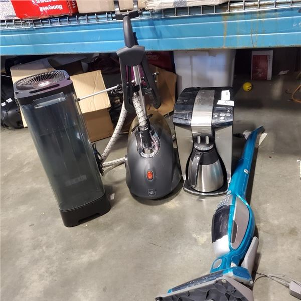 OSTER COFFE MAKER, STEAM CLEANER, ELECROLUX CORDLESS VAC