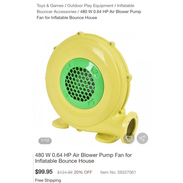 COSTWAY 480W 0.64HP AIR BLOWER FAN FOR BOUNCE HOUSE