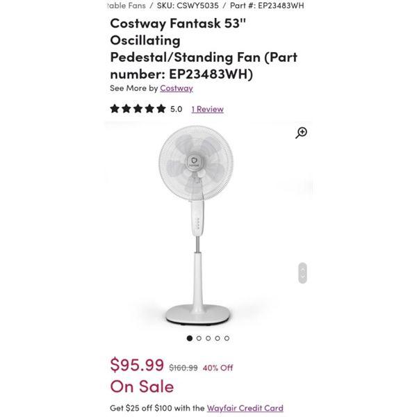 COSTWAY 53 INCH OSCILLATING FLOOR FAN - RETAIL $95.99