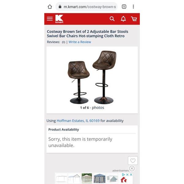 Costway Brown Set of 2 Adjustable Bar Stools Swivel Bar Chairs Hot-stamping Cloth Retro