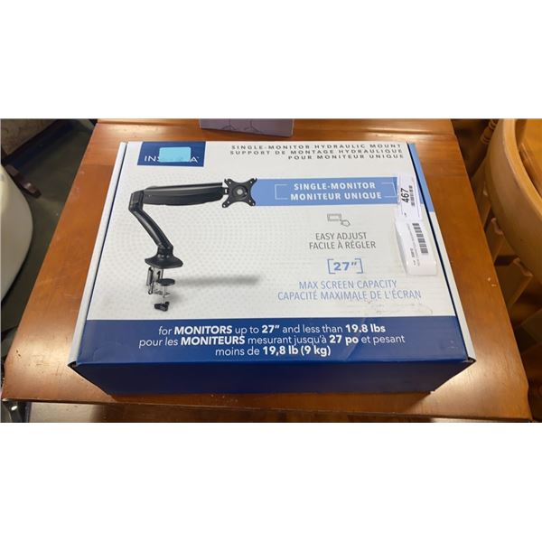 NEW OVERSTOCK INSIGNIA SINGLE MONITOR HYDRAULIC MOUNT - UP TO 27 INCH