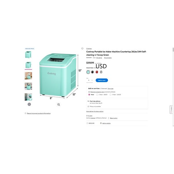 Costway Portable Ice Maker Machine Countertop 26Lbs/24H Self-cleaning w/ Scoop Green