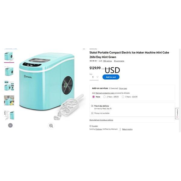 Stakol Portable Compact Electric Ice Maker Machine Mini Cube 26lb/Day Mint Green