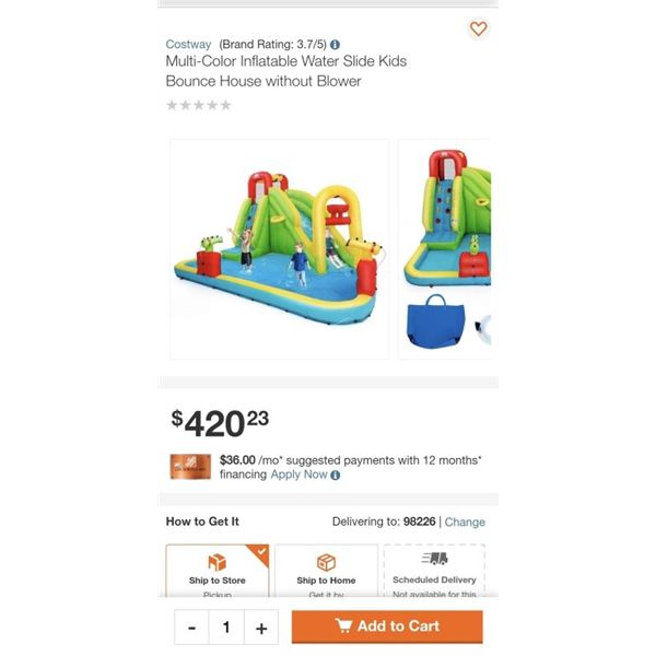Multi-Color Inflatable Water Slide Kids Bounce House without Blower