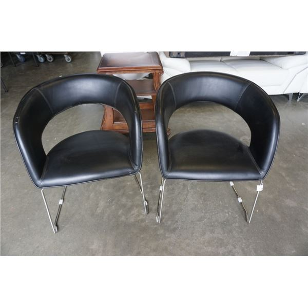 2 BLACK LEATHER LOOK CHAIRS