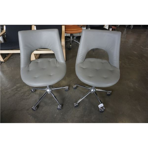 2 LEATHER LOOK ROLLING GAS LIFT CHAIRS