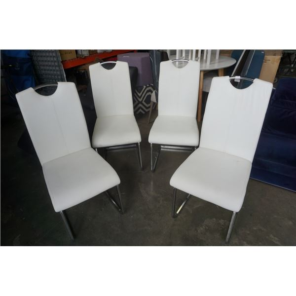 4 ITALIAN LEATHER CHROME BASE DINING CHAIRS