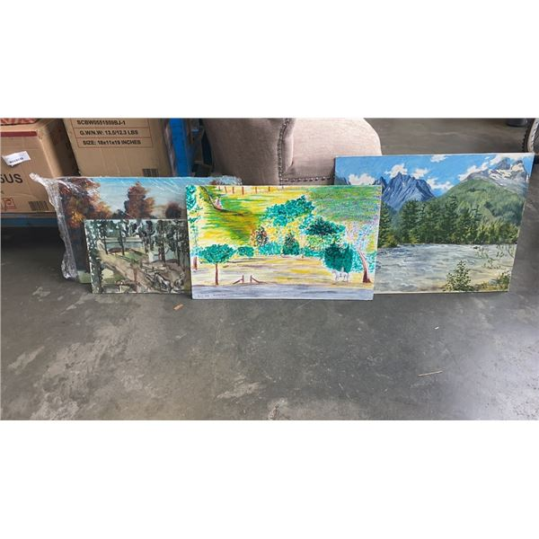 4 PAINTINGS - ON BOARD, CANVAS, WATERCOLOR