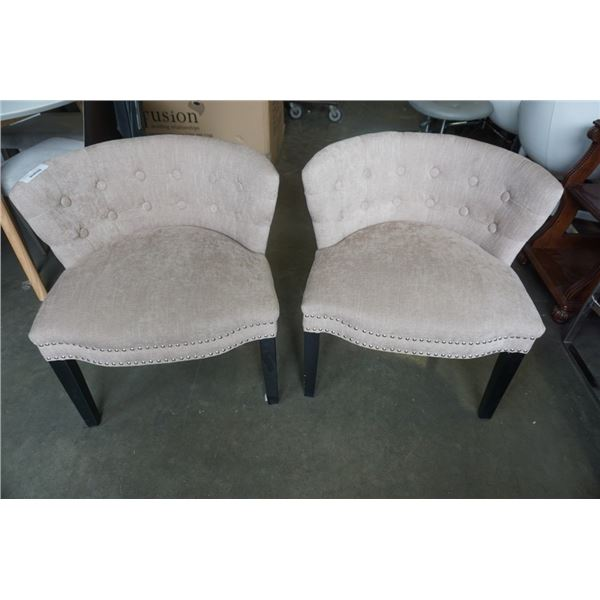 PAIR OF STUDDED ACCENT CHAIRS