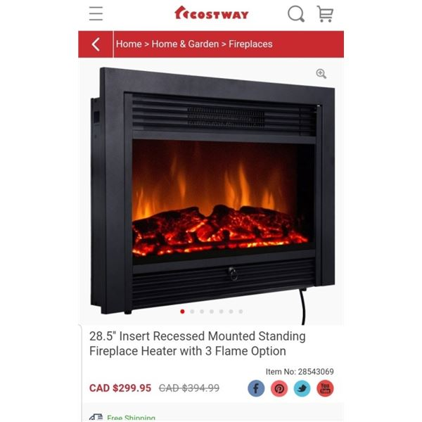 COSTWAY 28.5 INCH RECESSED ELECTRIC FIREPLACE HEATER WITH 3 FLAME OPTIONS - RETAIL $299.95