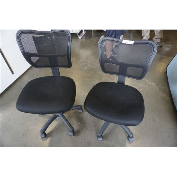 2 MESH BACK GAS LIFT OFFICE CHAIRS
