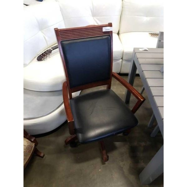 ROLLING OFFICE CHAIR WOOD FRAMED BLACK LEATHER LOOK