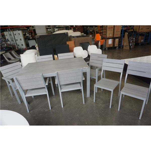 GREY METAL BASE SLAT TOP DINING TABLE WITH 8 CHAIRS