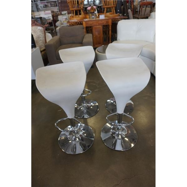 4 MODERN GAS LIFT BAR STOOLS - BLACK AND WHITE LEATHER LOOK