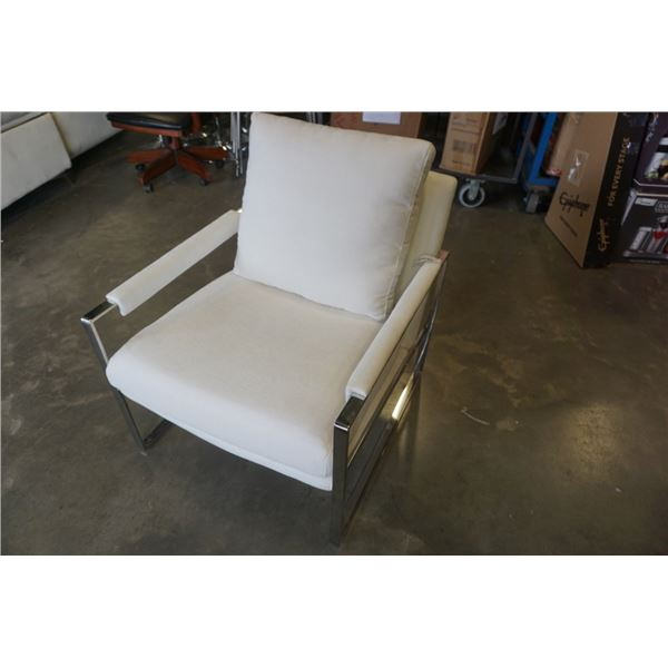WHITE STEEL FRAME ACCENT CHAIR