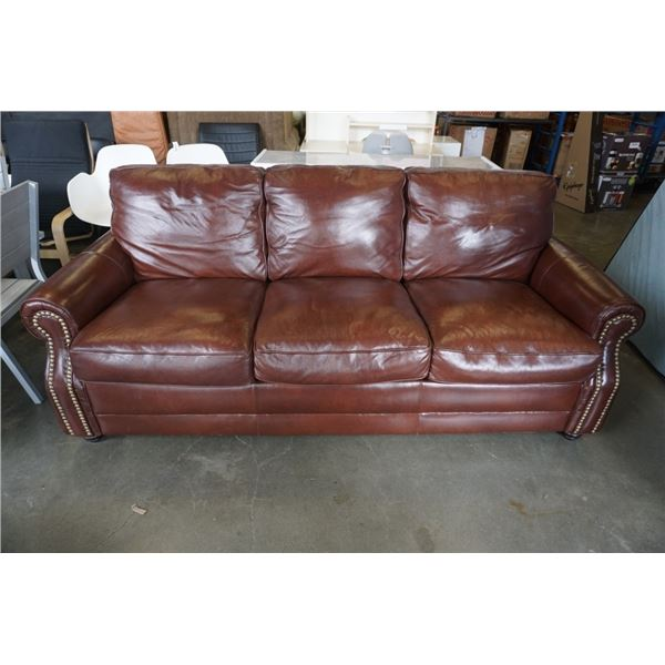 ITALROM LEATHER SRL BROWN STUDDED SOFA