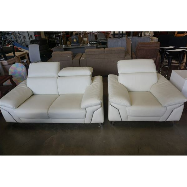 FURNITURE LAND MODERN WHITE LEATHER LOVESEAT AND ARMCHAIR ADJUSTABLE HEADRESTS