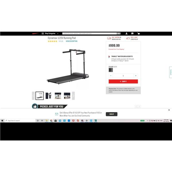 Dynamax 120V Running Pad RETAIL $999 AT SPORTCHEK