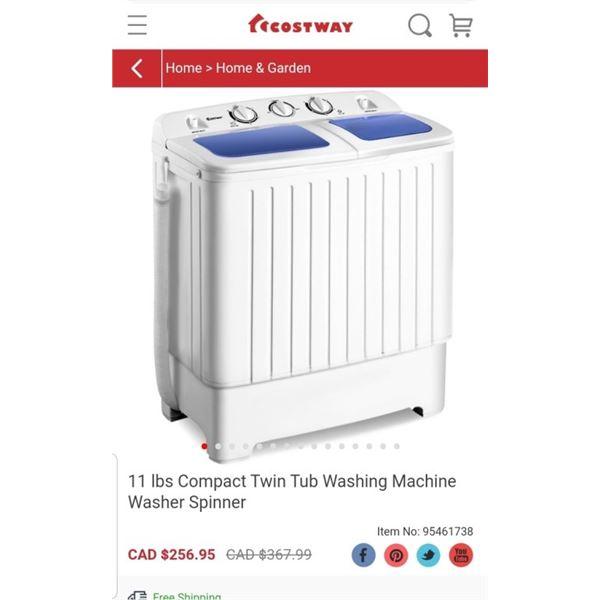 COSTWAY TWIN TUB PORTABLE MINI WASHING MACHINE - RETAIL $299.95
