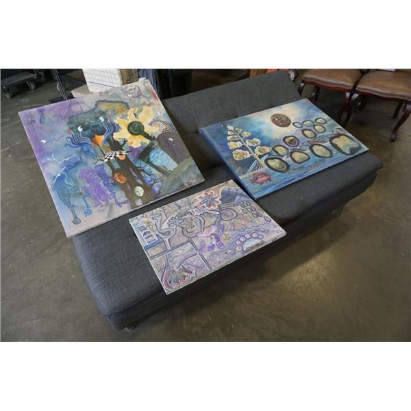 3 CANVAS SURREAL ABSTRACT PAINTINGS