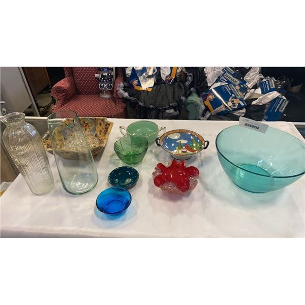 LOT OF GLASS DISHES AND CANDLE HOLDERS - ART GLASS, HAND PAINTED, ETC