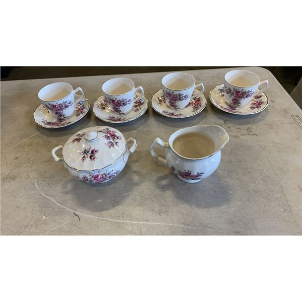 LOT OF JOHNSON BROS TEACUPS SAUCERS WITH CREAM AND SUGAR