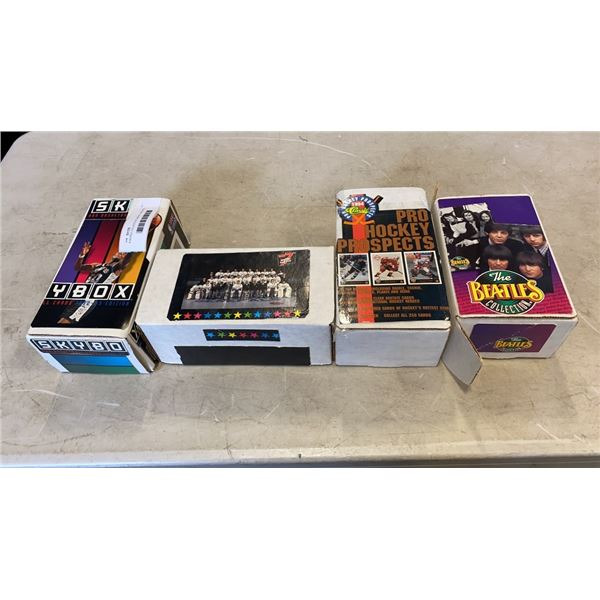 4 BOXES COLLECTOR CARDS - SPORTS, BASKETBALL, HOCKEY, BEATLES, BEETLEJUICE, ETC