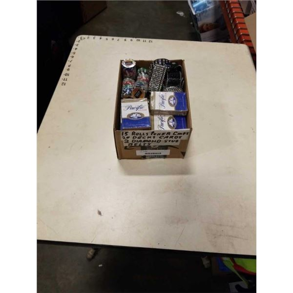 BOX OF NEW POKER CARDS AND CHIPS