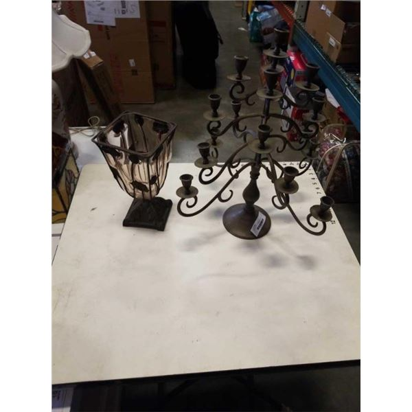 BLOWN GLASS AND METAL PLANTER WITH CANDLEABRA