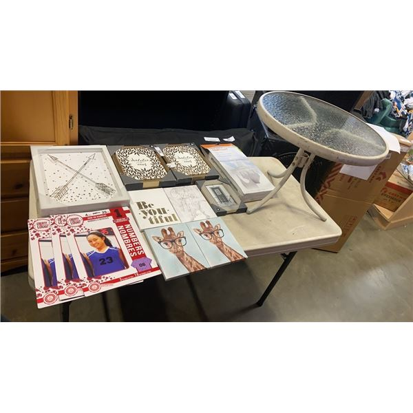 LOT OF CANVAS PRINTS, CLOTHES HANGER AND GLASSTOP PATIO ENDTABLE