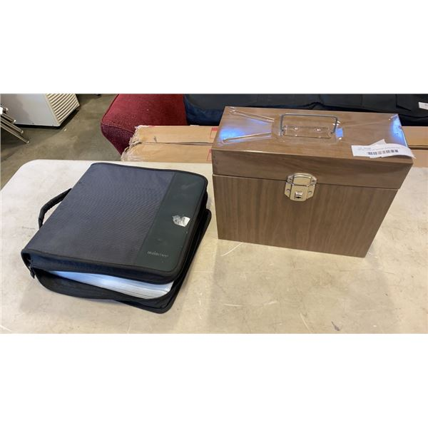 METAL CASE OF OFFICE SUPLLIES AND BINDER OF MOVIES