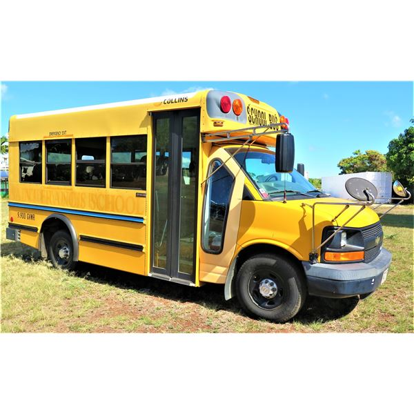2008 Chevy 15-Passenger School Bus, 61,982 Miles, Lic. PWV231, Starts & Runs (See Video)