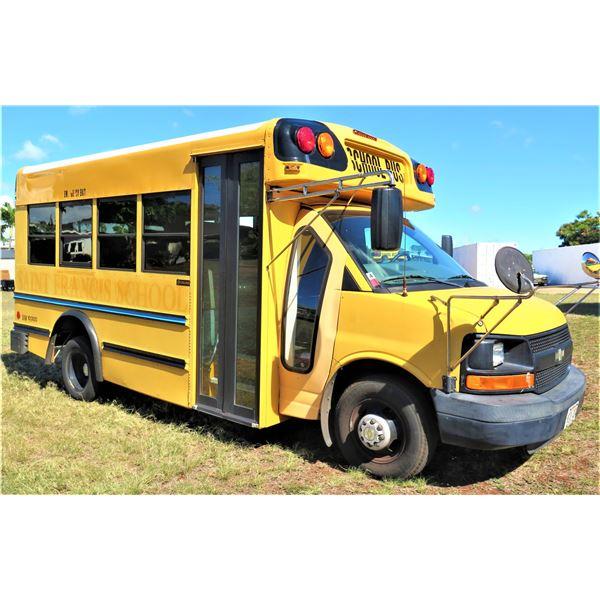 2009 Chevy 15-Passenger School Bus,  32,610 Miles, Lic. HLA404, Starts & Runs (See Video).
