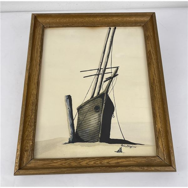 Gary Bigelow Gouache Sailboat Painting
