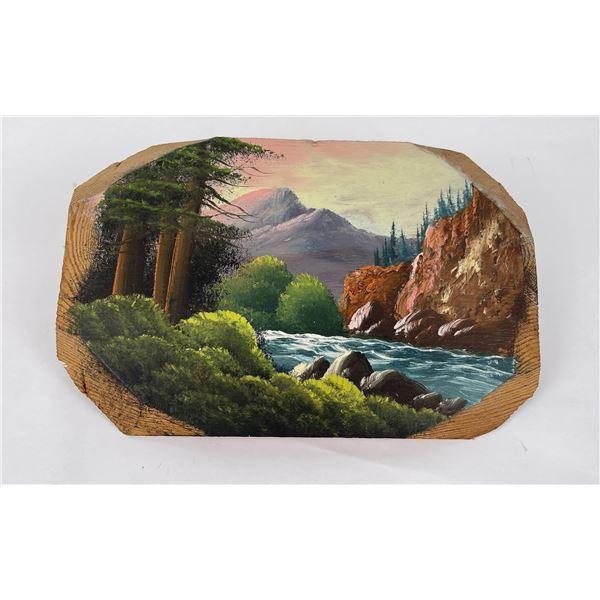Antique Montana Tourist Plein Air Painting
