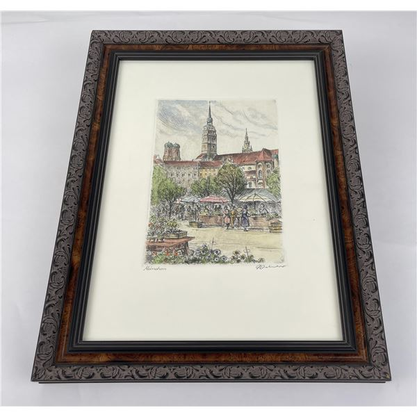 Munich Germany Hand Tinted Engraving