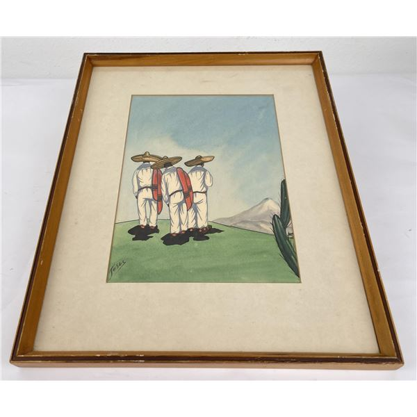 1950's Mexican Folk Art Watercolor Painting