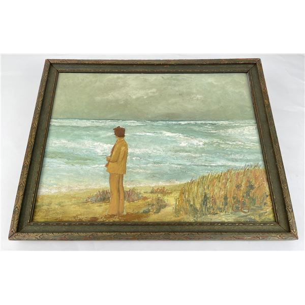 Woman at the Sea Oil on Canvas Painting