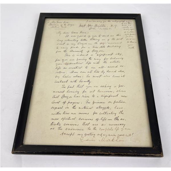 Edwin Markham Poet Letter New York