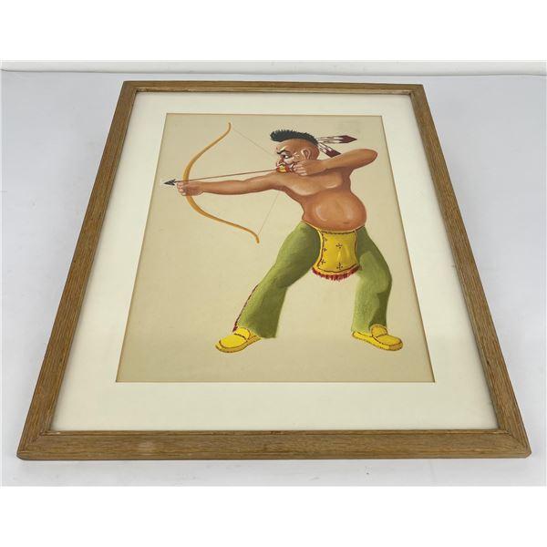 Cartoon Watercolor Painting Indian Warrior