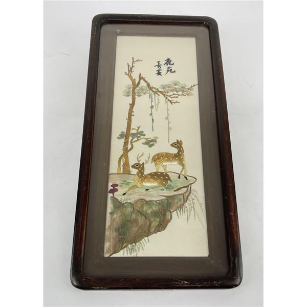 Antique Chinese Silk Deer Picture