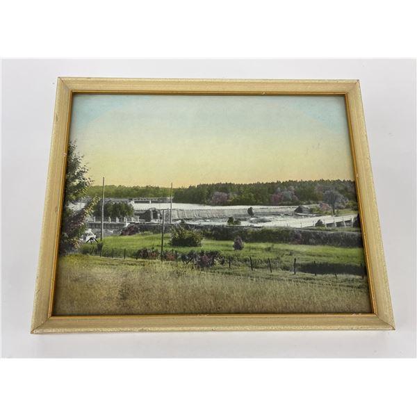 Antique Hand Tinted Photo of Dam