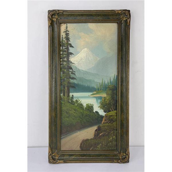Antique Mount Hood Roadside Tourist Painting